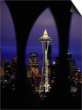 Space Needle at Night, Seattle, Washington, USA Posters by Lawrence Worcester