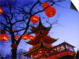 Chinese Pagoda and Tree Lanterns in Tivoli Park, Copenhagen, Denmark Prints by Izzet Keribar