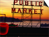 Pike Place Market Sign, Seattle, Washington, USA Poster by Lawrence Worcester