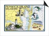 Fenwick Island, Delaware - Nautical Chart Prints by  Lantern Press