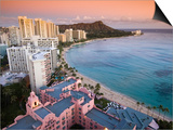 Waikiki Beach with Royal Hawaiian Hotel and Diamond Head at Sunset, Oahu, Hawaii Prints by John Elk III