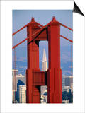 Golden Gate Bridge Tower and Transamerica Building, San Francisco, California, USA Posters by Roberto Gerometta