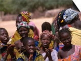 Local Village Children Colourfully Attired on Niger River, Mali Prints by Patrick Syder