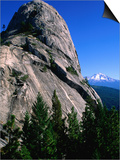 Castle Crags with Mt. Shasta in Distance, California Posters by John Elk III