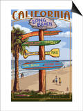 Long Beach, California - Destination Sign Posters by  Lantern Press