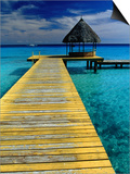 Pontoon and Hut Over the Lagoon, Rangiroa, Taumotus, The, French Polynesia Prints by Jean-Bernard Carillet