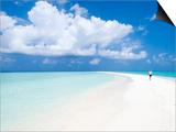 Morning Jogger on Sandbank, Kuramathi Island, Rashdoo Atoll, Alifu, Maldives Poster by Felix Hug