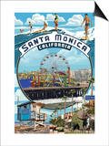 Santa Monica, California - Montage Scenes Posters by  Lantern Press