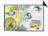 Ocean City, Maryland - Nautical Chart Prints by  Lantern Press