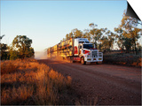 Roadtrain Hurtles Through Outback, Cape York Peninsula, Queensland, Australia Print by Oliver Strewe