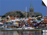 The Lovely Small Fishing Village of Fjallbacka and Its Large Church, Vaster-Gotaland, Sweden Art by Anders Blomqvist