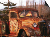 Rusty Old Truck Strung with Christmas Lights, with Santa Claus at Wheel Print by Judy Bellah