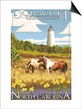 Ocracoke Lighthouse - Outer Banks, North Carolina Poster by  Lantern Press