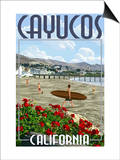 Cayucos, California - Beach and Pier Scene Print by  Lantern Press