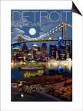 Detroit, Michigan - Skyline at Night Art by  Lantern Press