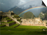 Rainbow over Incan Ruins of Machu Picchu Poster by Emily Riddell