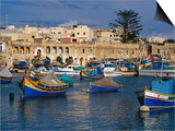 Luzzus, Traditional Fishing Boats Moored in Harbour, Marsaxlokk, Malta Art by Craig Pershouse