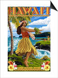 Hawaii Hula Girl on Coast - Merrie Monarch Festival Posters by  Lantern Press