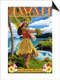 Hawaii Hula Girl on Coast - Merrie Monarch Festival Posters by  Lantern Press