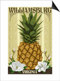 Williamsburg, Virginia - Colonial Pineapple Prints by  Lantern Press