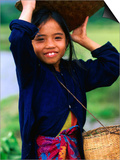 Portrait of Girl Balancing Basket of Herbs, Muang Ngoy, Laos Art by Anthony Plummer