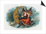 Picant Brand Cigar Box Label, Fairy Woman Smoking on the Moon Print by  Lantern Press