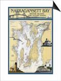 Narragansett Bay, Rhode Island Nautical Chart Posters by  Lantern Press