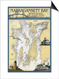 Narragansett Bay, Rhode Island Nautical Chart Posters