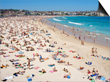 Summer Holiday Crowds on Bondi Beach Art by Oliver Strewe