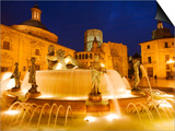 Turia Fountain, Plaza del la Virgen, Centro Historico, Valencia, Spain Prints by Greg Elms