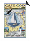 Cape Cod, Massachusetts Chart & Views Prints by  Lantern Press