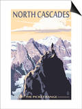 North Cascades, Washington - Mountain Peaks Posters by  Lantern Press