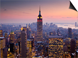 Empire State Building from Rockefeller Center at Dusk Print by Richard l'Anson
