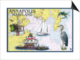 Annapolis, Maryland - Nautical Chart Posters by  Lantern Press