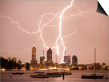 Lightning Storm over Perth Skyline from Matilda Bay Print by Orien Harvey