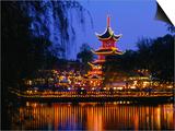 Tivoli Gardens Chinese Pagoda Restaurant at Night, Copenhagen, Denmark Prints by Anders Blomqvist