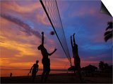 Volleyball on Playa de Los Muertos at Sunset, Mexico Prints by Anthony Plummer