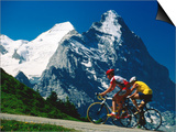 Cyclists in Front of Eiger and Snow-Covered Monch, Grosse Scheidegg, Grindelwald, Bern, Switzerland Print by David Tomlinson