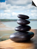 Hot Stones Spa Treatment at St. Brides Hotel and Spa with Saundersfoot Beach in Background Posters by Huw Jones