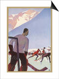 An Ice-Hockey Match in Chamonix France Posters by Roger Broders