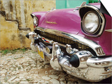 1957 Chevy Bel-Air Car Front Grill and Bumper in Cobbled Street, Trinidad, Cuba Prints by Christopher P Baker