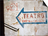 Sign on Wall Directing to Teatro, Lisbon, Portugal Posters by Martin Lladó