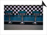 Stools at Classic Diner with Checkerboard Tiling, New Mexico, USA Prints by Ralph Lee Hopkins