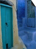Painted Stepped Alley and Green Wooden Door,Pothia, Kalymnos, Greece Print by Jeffrey Becom