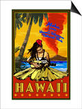 Hula Girl and Ukulele - Hawaii Volcanoes National Park Prints by  Lantern Press