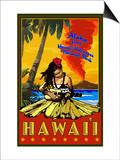 Hula Girl and Ukulele - Hawaii Volcanoes National Park Prints by  Lantern Press