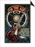 Memphis, Tennessee - Guitar and Microphone - Blue Poster by  Lantern Press