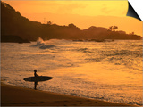 Surfer Standing at Waimea Bay at Sunset, Waimea, U.S.A. Art by Ann Cecil