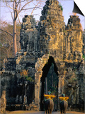 Elephants Outside the South Gate at Angkor Thom, Angkor, Cambodia Posters by Anders Blomqvist