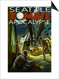 Seattle Zombie Apocalypse Prints by  Lantern Press